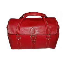 Genuine leather travel bag Red