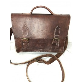 Genuine Leather Satchel Brown