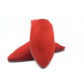 Authentic handmade red suede slippers