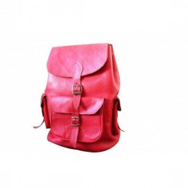 Genuine leather pink backpack