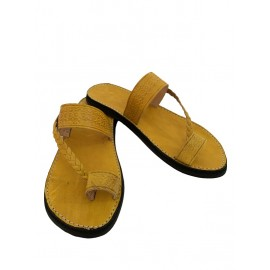 Yellow genuine leather sandal
