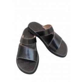 Black real leather sandal
