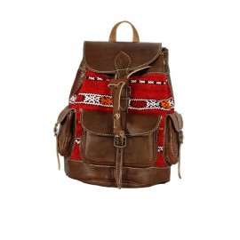 Genuine leather backpack with  kilim