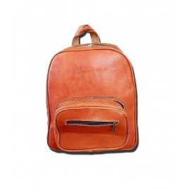 Genuine leather brown backpack