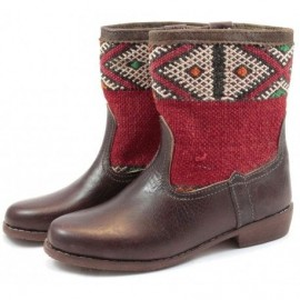Mini boot leather and kilim...