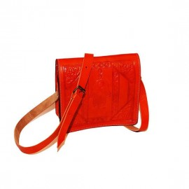Orange genuine leather...