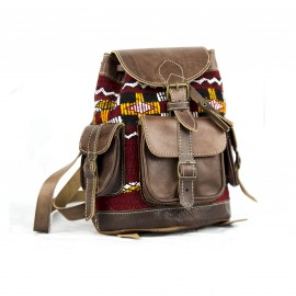 Brown genuine leather backpack with red kilim