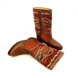 Genuine Leather Boots with kilim
