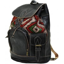 Leather and kilim backpack