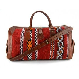 Genuine leather travel bag with kilim