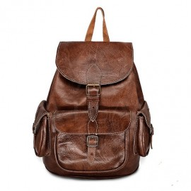 Leather backpack for travel