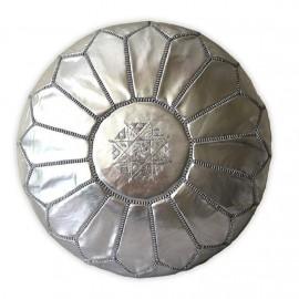 Silver genuine leather pouffe