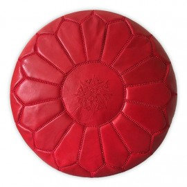 Pouffe in genuine leather Red