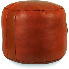 Pouf in real tobacco leather