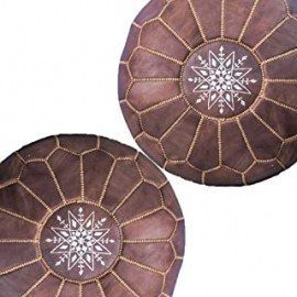 Set of two poufs in genuine...