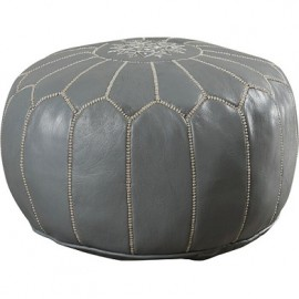 Pouffe in genuine leather Gray
