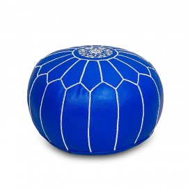 Pouffe in genuine leather Blue