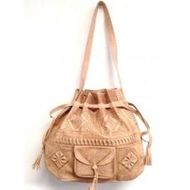 Handmade beige leather...