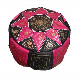 Pouffe in genuine pink and...