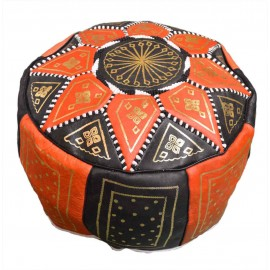 Black and Orange Genuine Leather Pouf