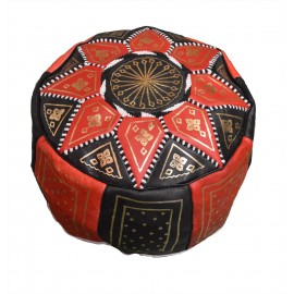 Black and Red Genuine Leather Pouf