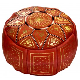 Red genuine leather pouffe with high-end finish