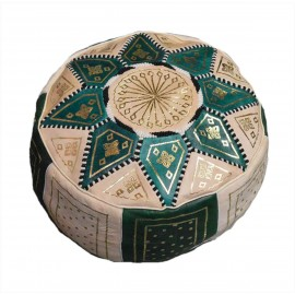 Green and white pouf in...