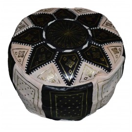 Black genuine leather pouf