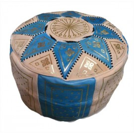 Handmade blue leather pouf