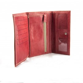 Real leather wallet Red