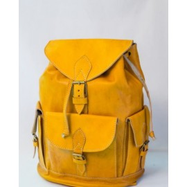 Yellow leather backpack