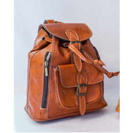 Genuine leather backpack with closure